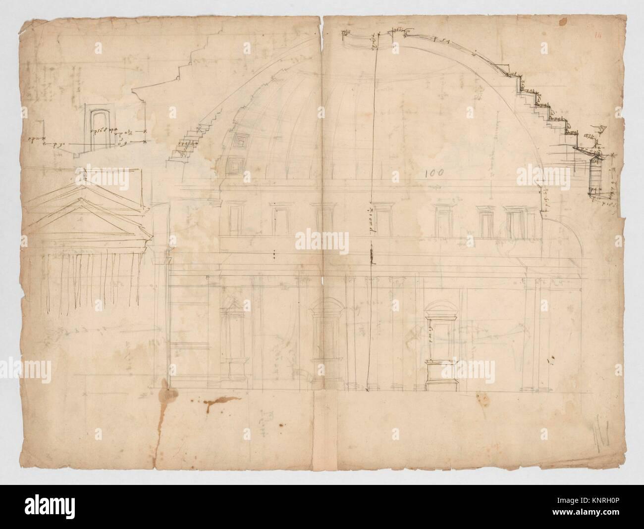 Panthéon, section (recto) Panthéon, capital, l'élévation; capital, plus de détails. Photo Stock