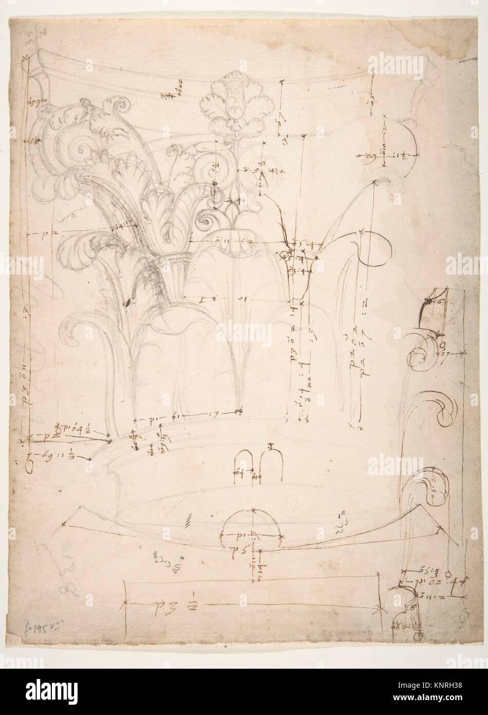 Chapiteau corinthien non identifiés, l'altitude, l'article et plan du plafond (recto) (verso vierge). Photo Stock