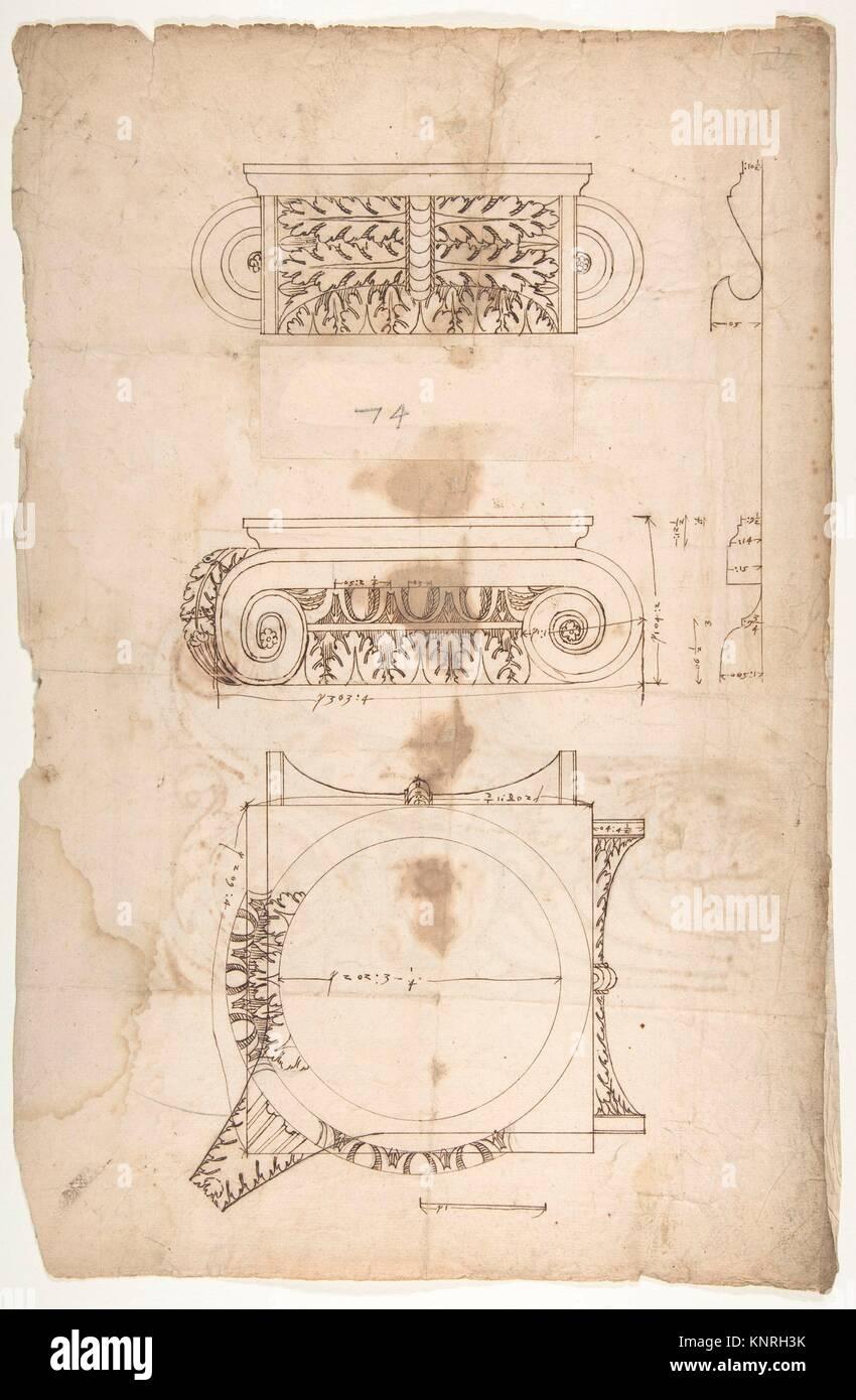 Temple d'Portonus, capital, les élévations et le plan (recto), non identifié, l'altitude Photo Stock
