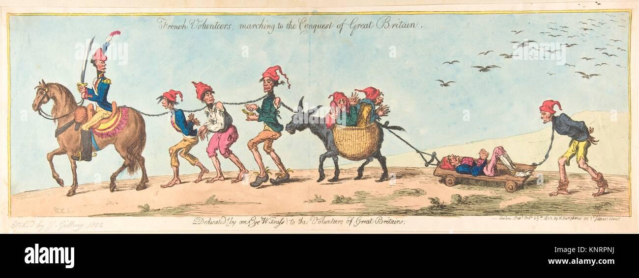 Volontaires français marchant à la conquête de la Grande-Bretagne. Artiste: James Gillray (britannique, Chelsea 1756-1815 Londres); Artist: après? Charles Banque D'Images