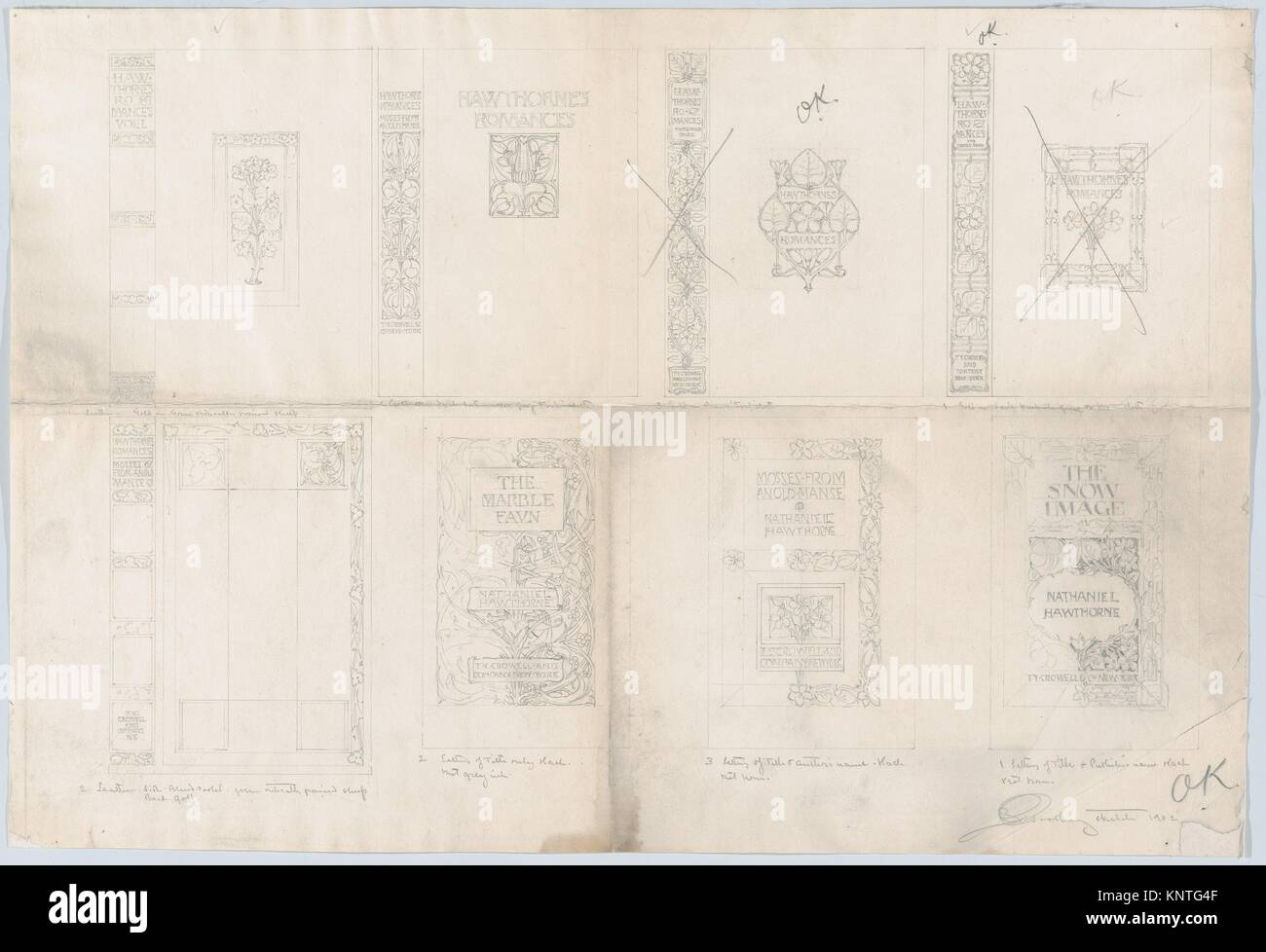 Habillages de romances, d'Hawthorne est publié par Thomas Y. Crowell. Artiste: Bertram Goodhue (Américain, Photo Stock