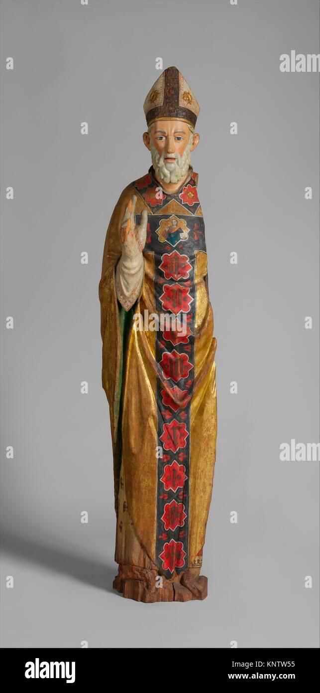 Bénédiction évêque (Saint Nicolas de Bari). Date: ca. 1350-75; Géographie: Photo Stock