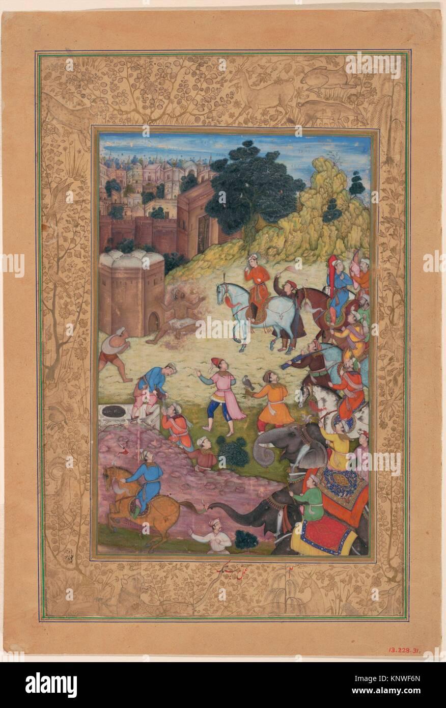 Un bain public Keeper est consommée par passion pour son bien-aimé, folio d'une Khamsa (Quintet) d'Amir Photo Stock