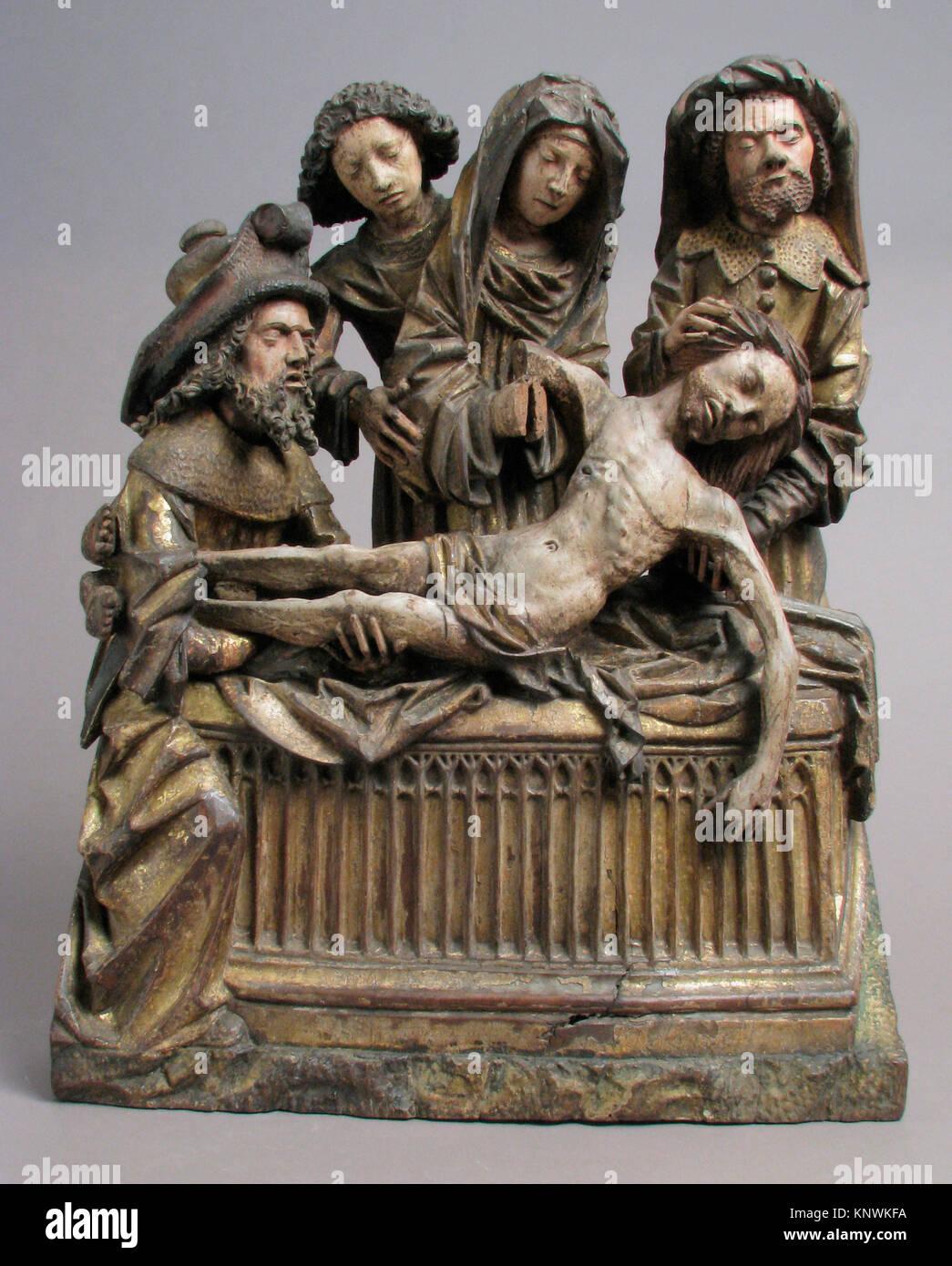 La mise au tombeau du Christ avec la Vierge Marie, Saint John, Nicodème et Joseph d'Arimathie. Date: Photo Stock
