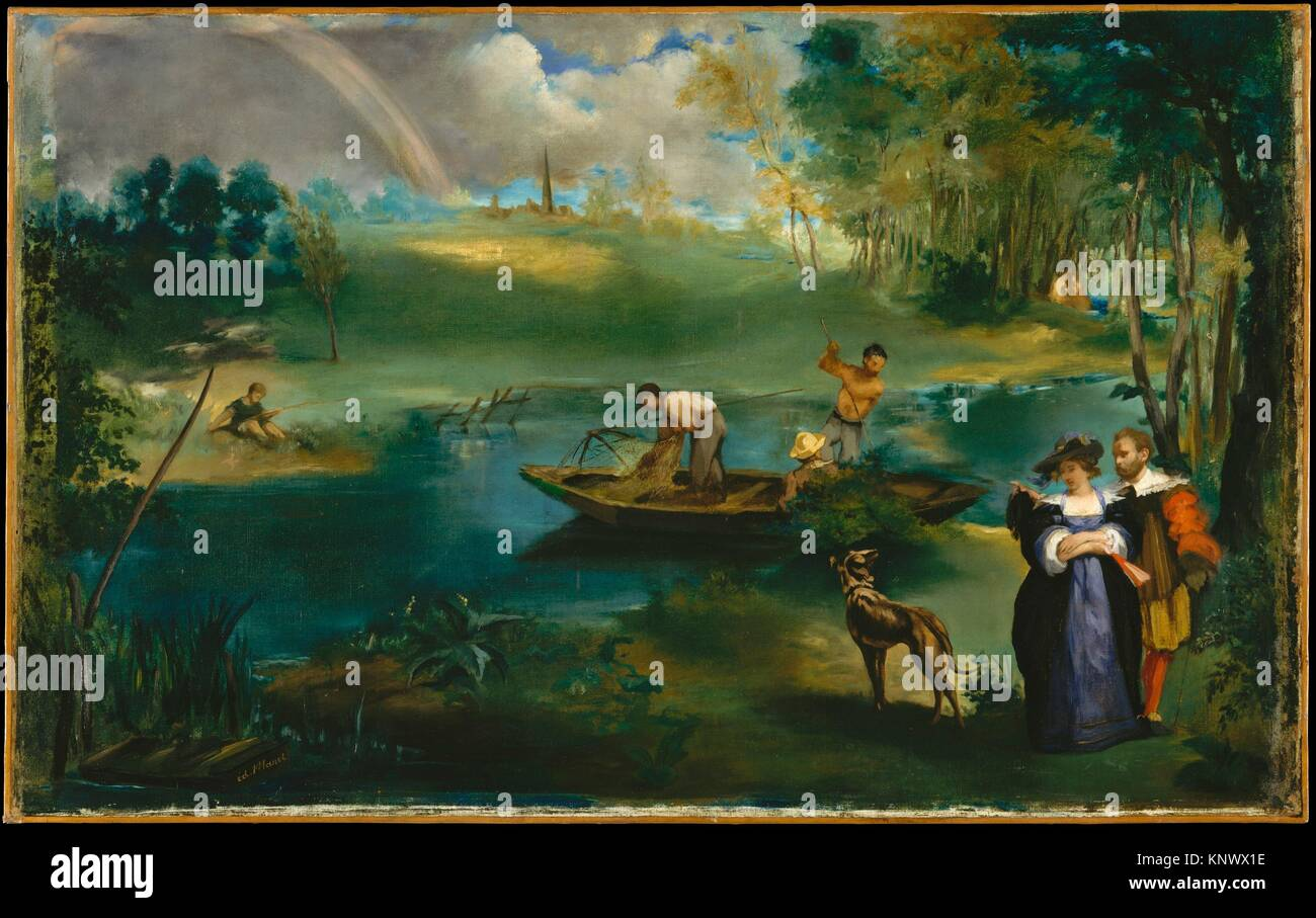 La pêche. Artiste: Édouard Manet (français, Paris 1832-1883 Paris); Date: ca. 1863; Medium: Huile sur toile; Dimensions: 30 1/4 x 48 1/2 in. (76,8 x Banque D'Images