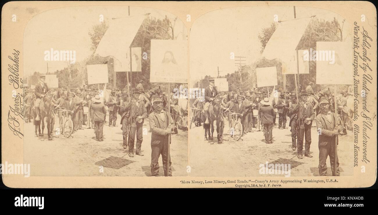 [Paire de stéréogramme de vues général Jacob S. Coxey's Army des chômeurs]. Artiste: Photo Stock