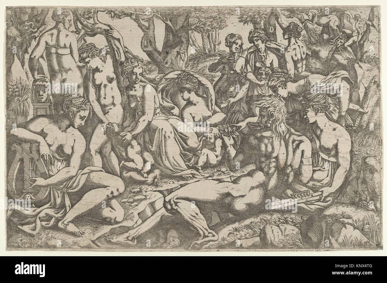 Les Muses au pied de Mt. Parnasse. Artiste: Antonio Fantuzzi (Italien, actif en France, en 1537-45); Photo Stock
