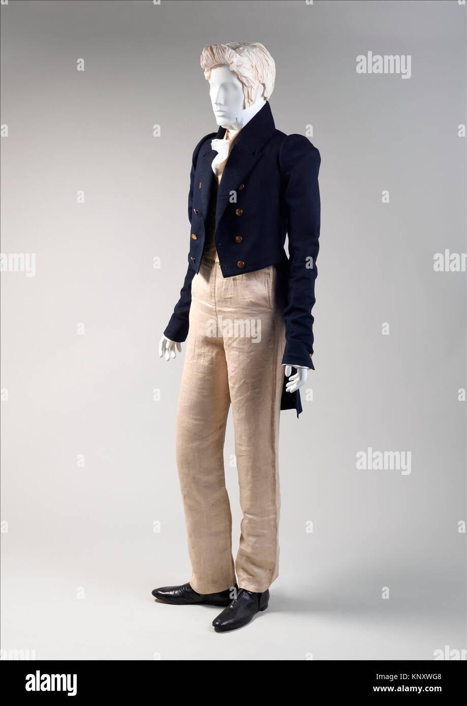 Ensemble. Date: ca. 1820; Culture: American; moyen: laine, coton, soie, lin; Photo Stock