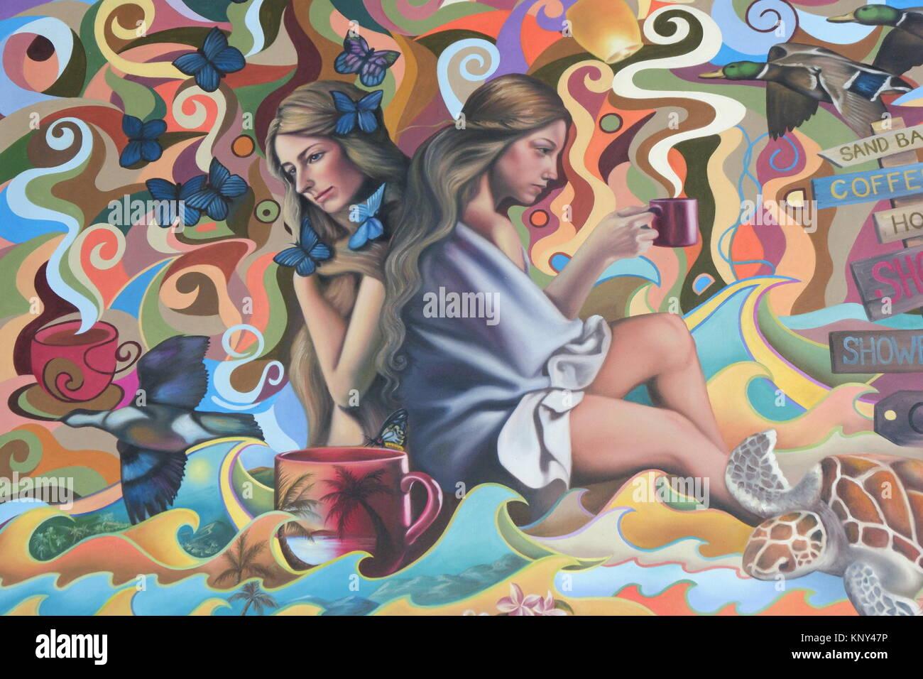 Une peinture d'une femme sur le mur Banque D'Images