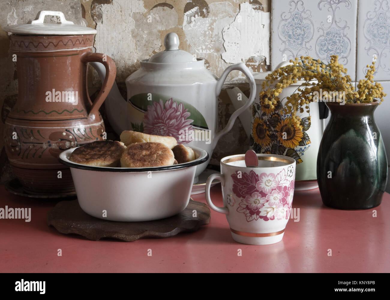 Encore un millésime-vie avec cheese cake et mimosa Photo Stock
