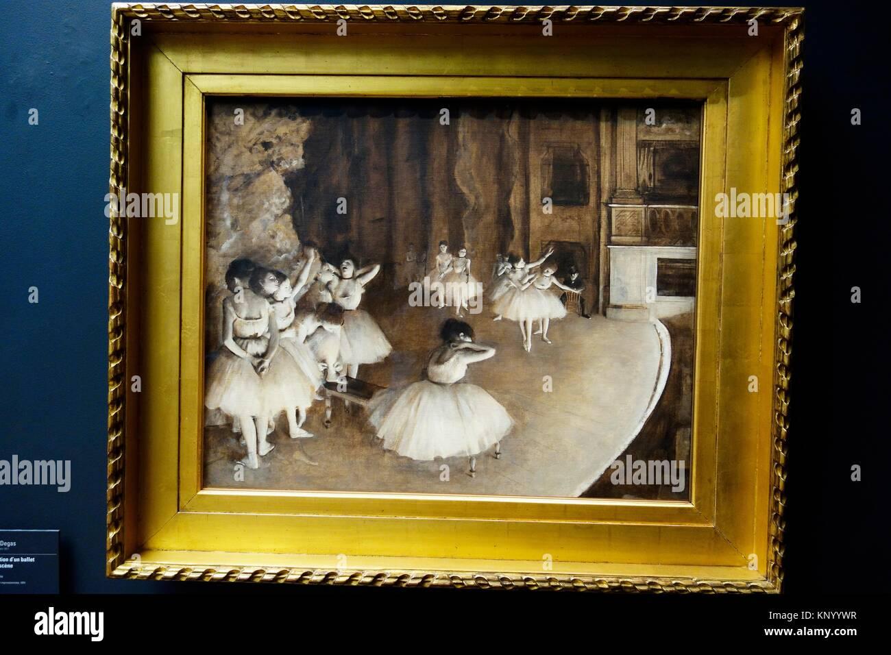 La répétition d'un ballet sur la scène. 1874. Edgar Degas. Musée d'Orsay. Paris. La Photo Stock