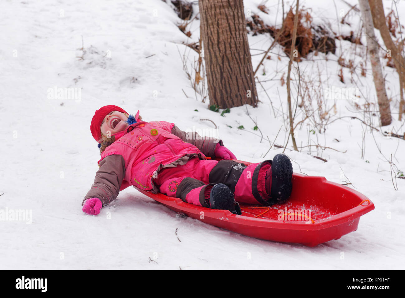 Une petite fille (3 ans) de la luge au Québec Photo Stock