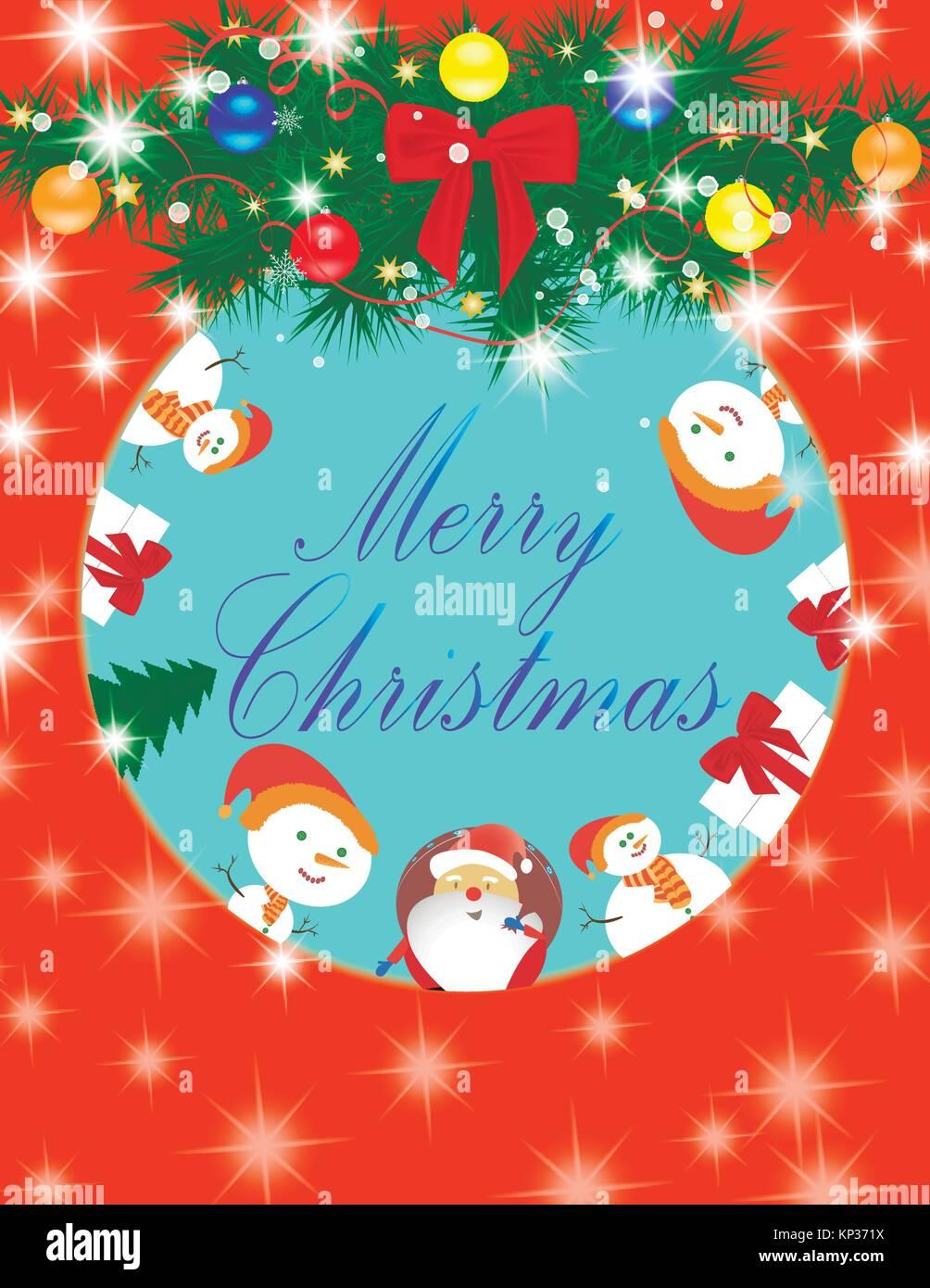 Carte Joyeux Noël Père Noël, bonhomme de neige, don Illustration de Vecteur