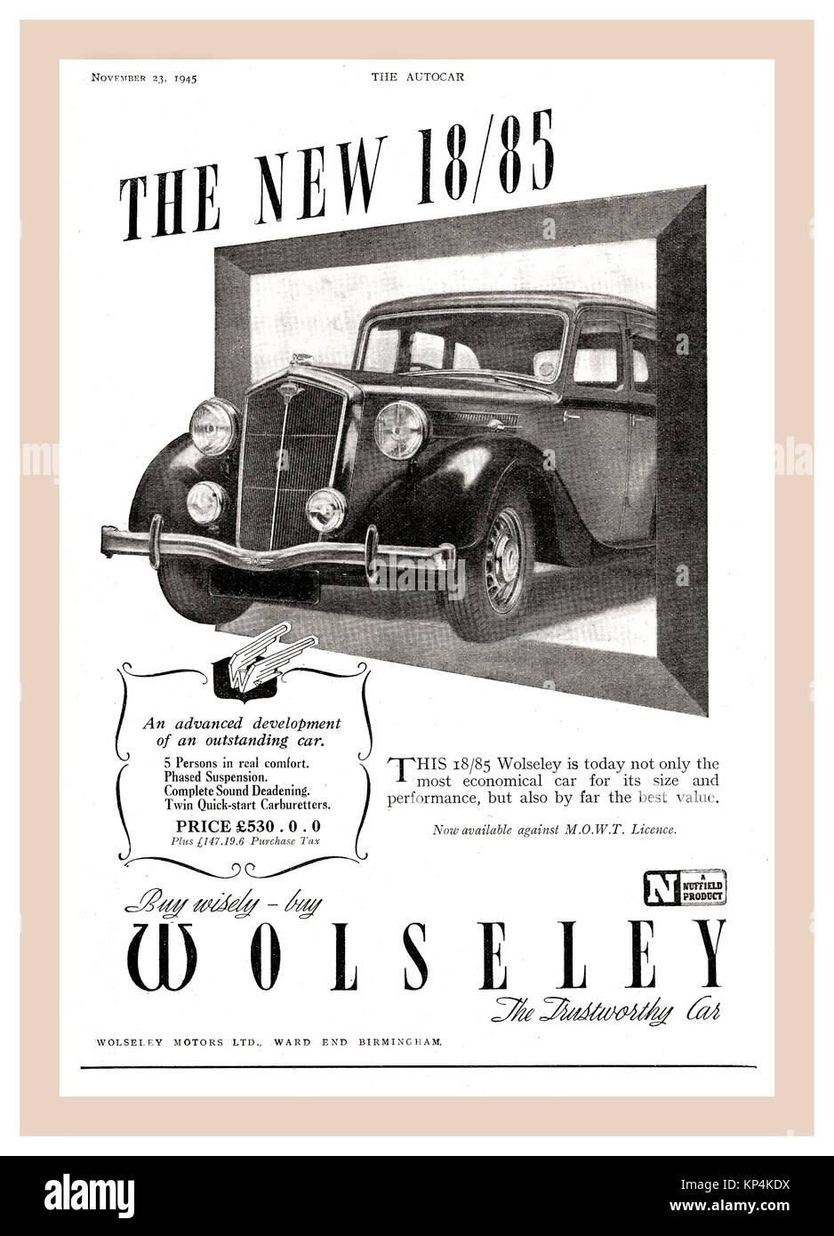 Vintage 30's /40's Autocar page de publicité pour Wolseley 18/85 (1938 à 1948) l'automobile Photo Stock