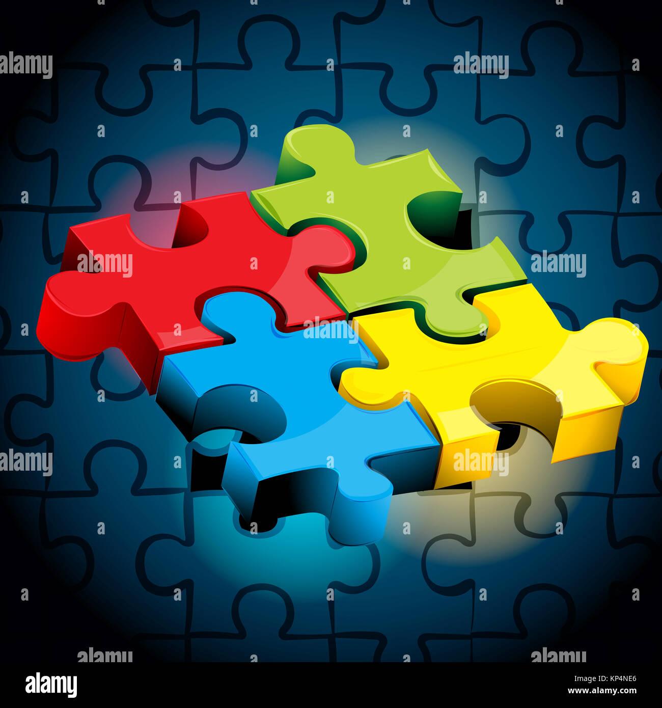 Illustration des morceaux de puzzle sur abstract background Banque D'Images