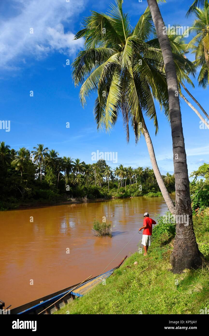 L'île de Det fait dans la région des Mille-Îles 4,Si Phan Don,du Mékong, au sud du Laos, Photo Stock