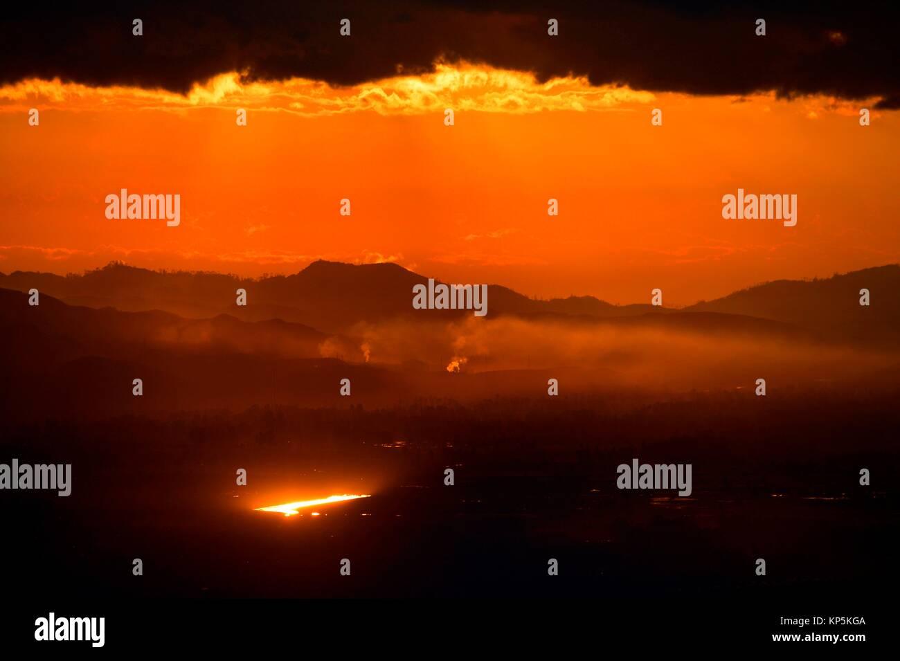 Coucher de soleil sur Bogota,Colombie. Photo Stock