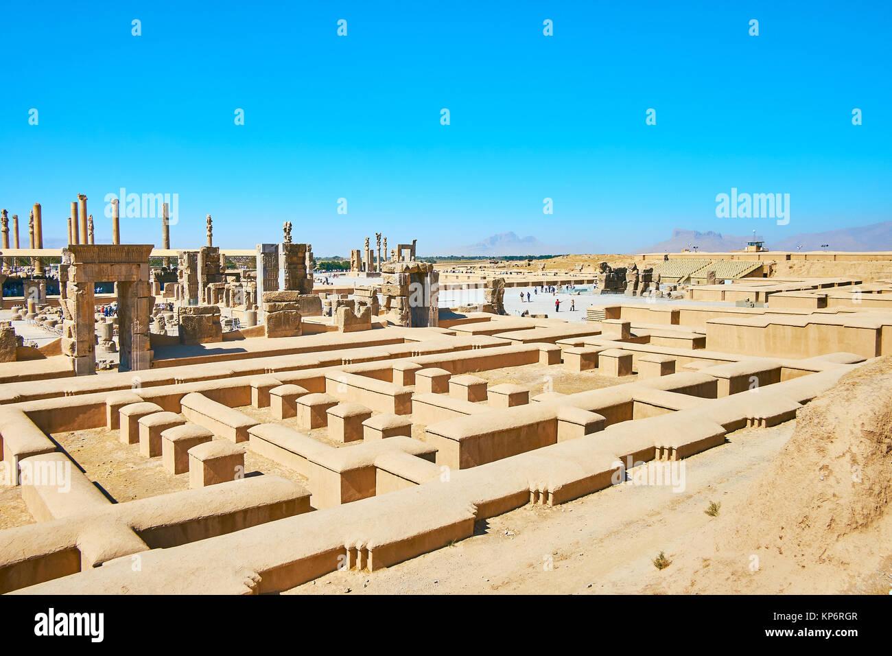 Persepolis site archéologique est l'un des monuments les plus populaires d'Iran, conservés depuis Photo Stock