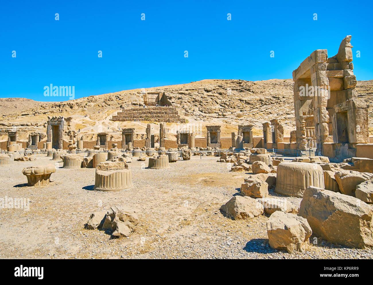 Site archéologique de Persépolis est célèbre parmi les touristes locaux et foregn, visiter l'Iran. Photo Stock