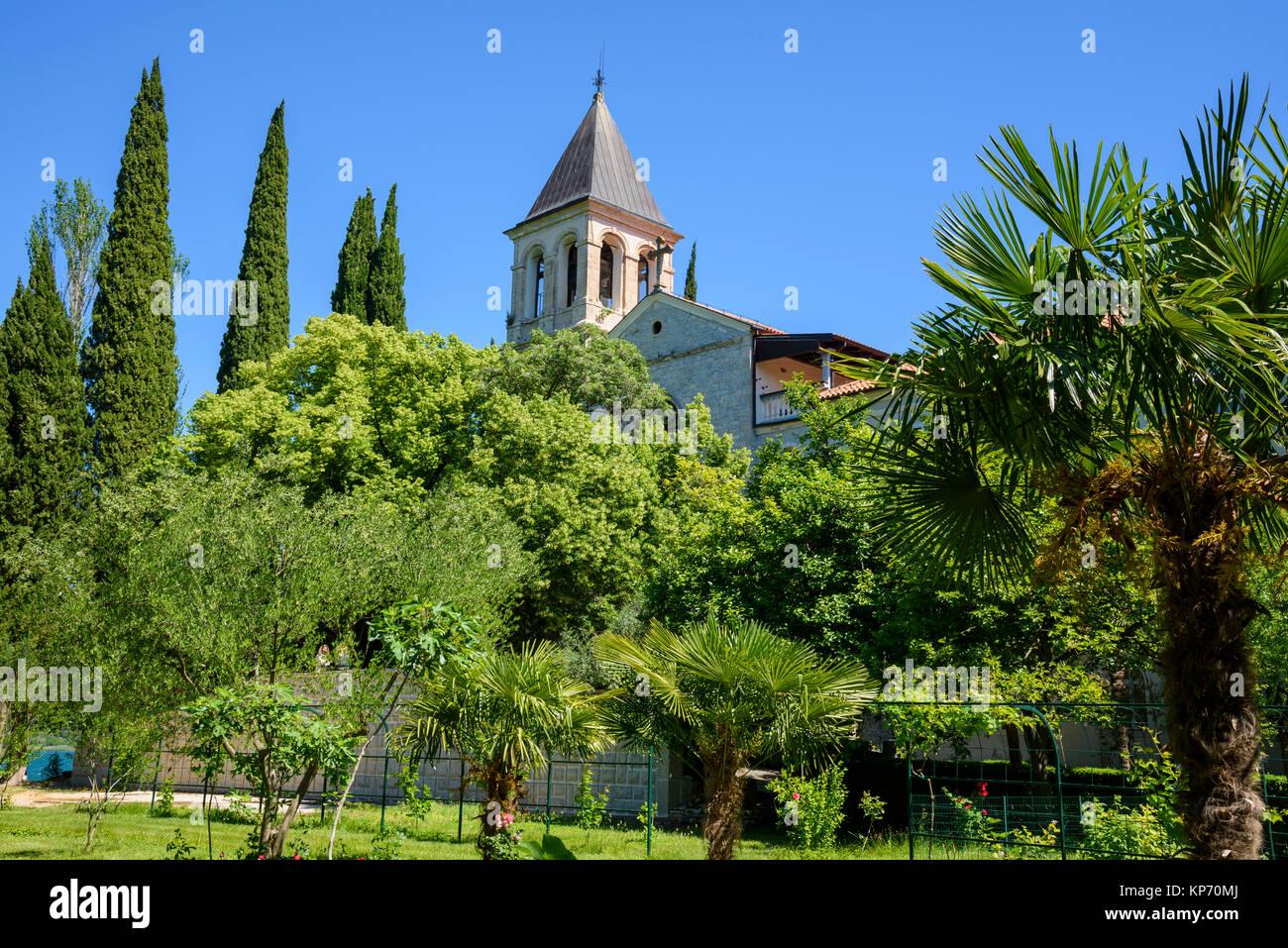 Monastère sur l'île de Visovac, Parc National de Krka, Croatie Photo Stock