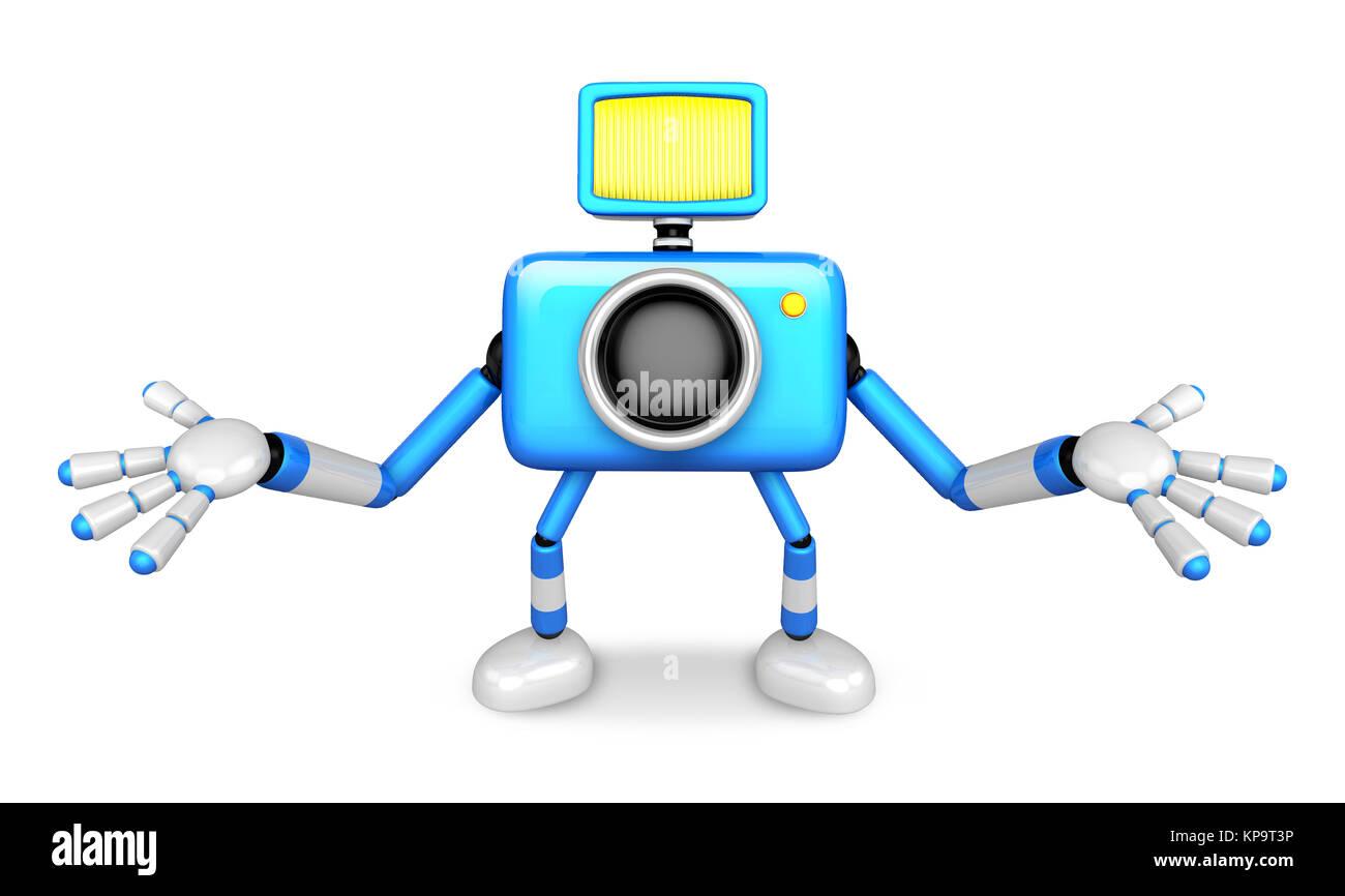 Caractère bleu de la caméra non-sens étendit les deux mains. Créer Robot caméra 3D série. Photo Stock
