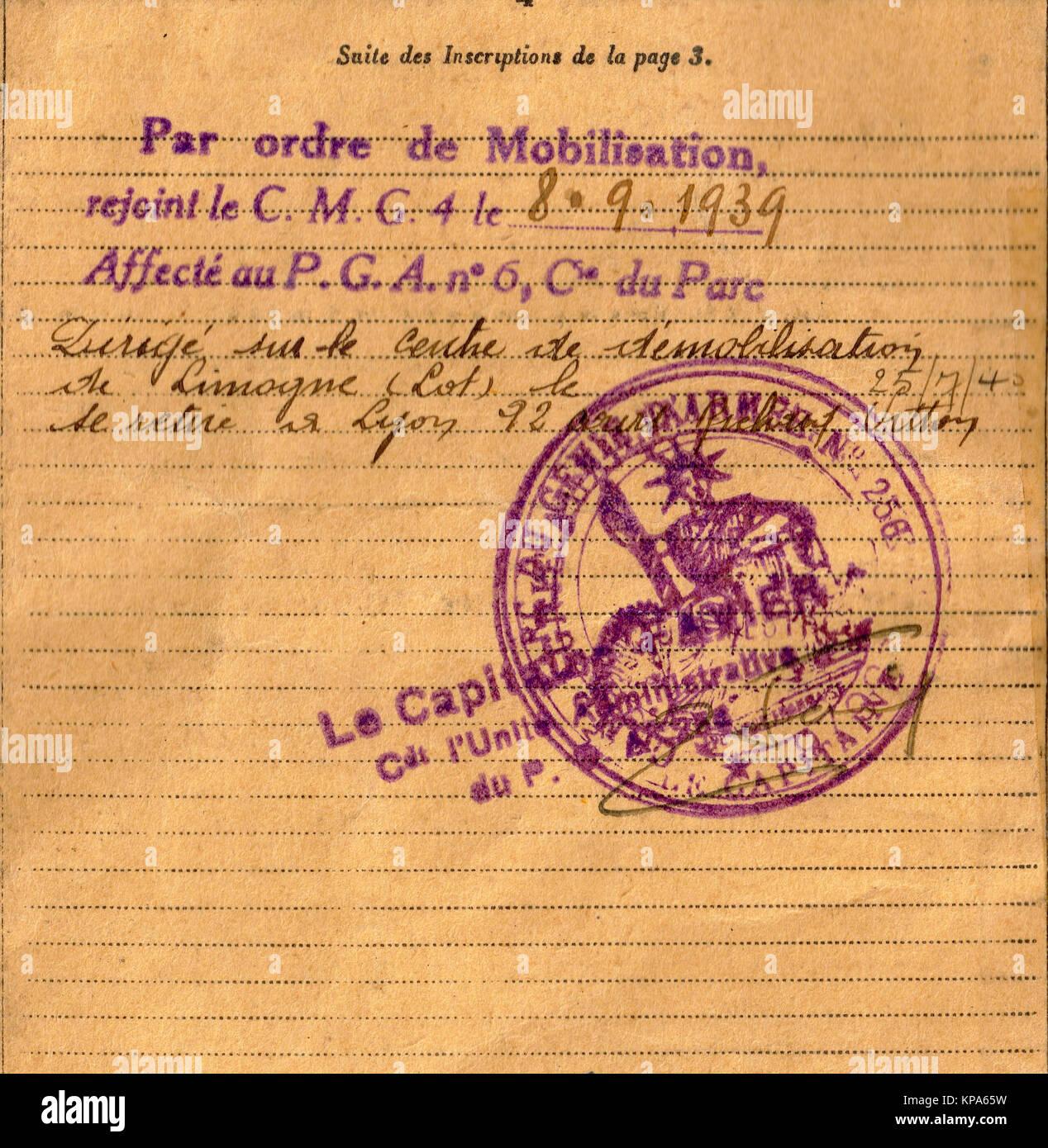 Livret militaire français DE LA SECONDE GUERRE MONDIALE, Lyon, France Photo Stock