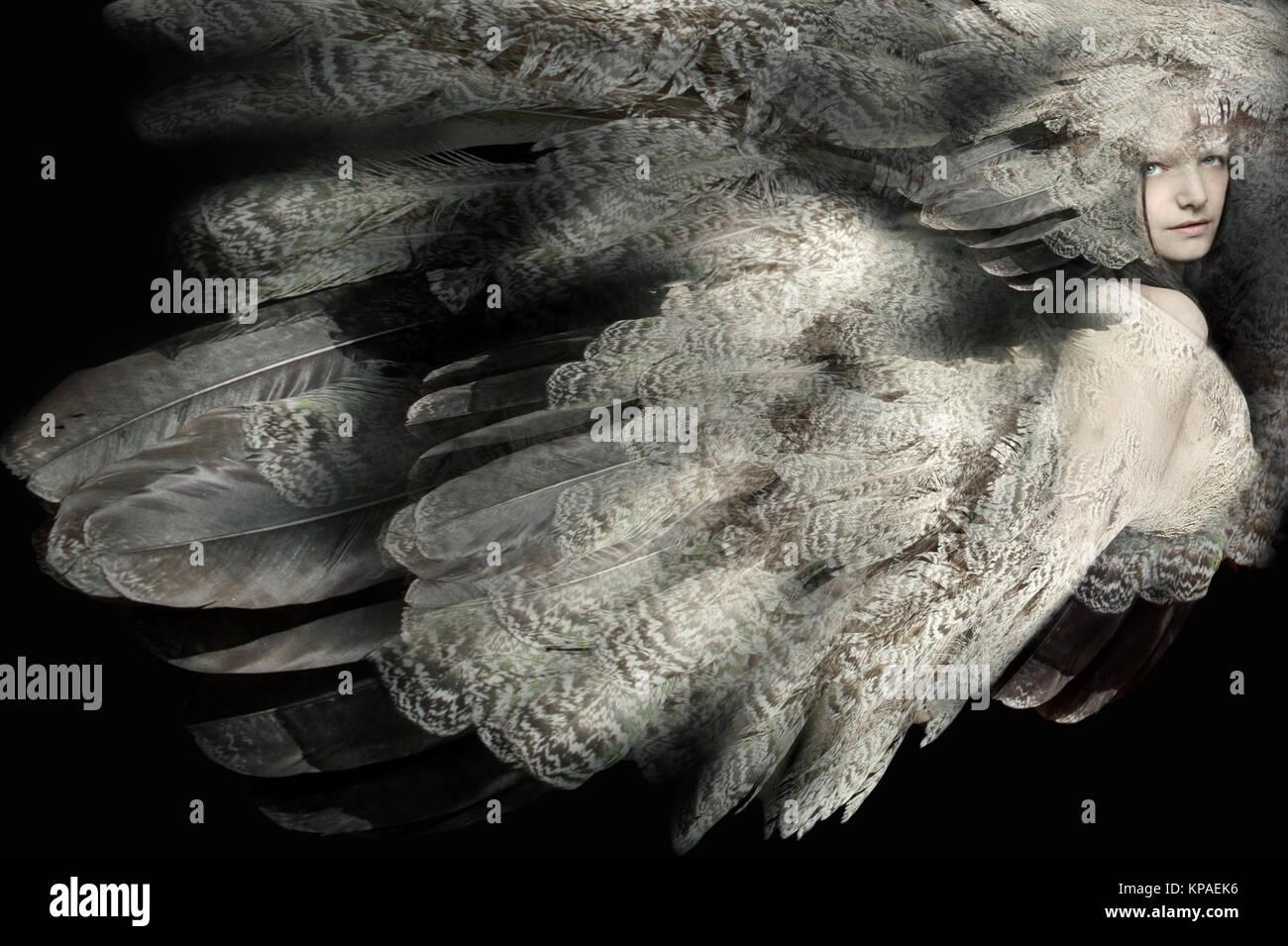 Beau portrait artistique d'une jeune fille avec leur plumage Photo Stock