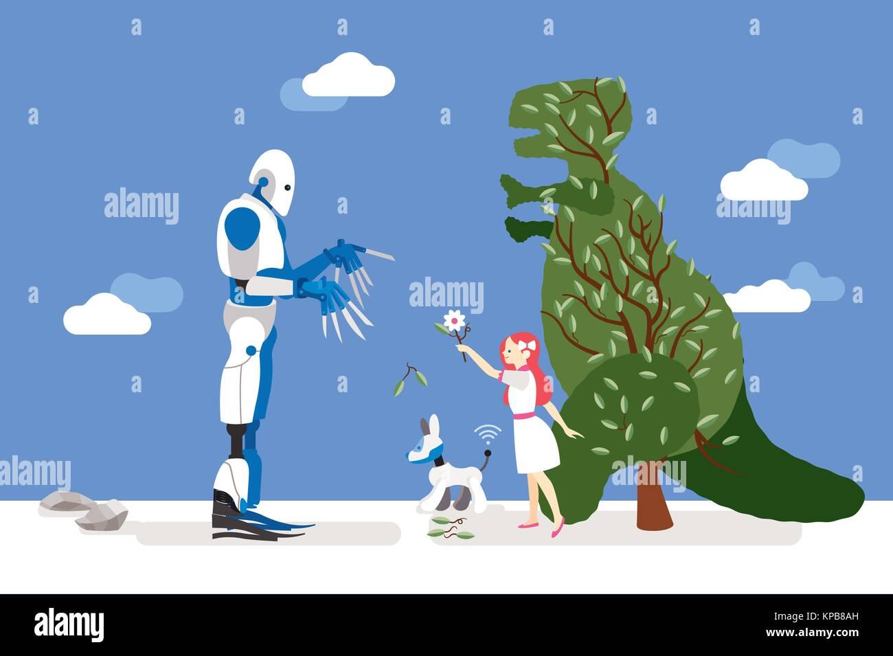 Vector illustration sur l'intelligence artificielle et de ses risques. Un peu d'innocent girl interagit avec un jardinier robot et lui offre une fleur Illustration de Vecteur