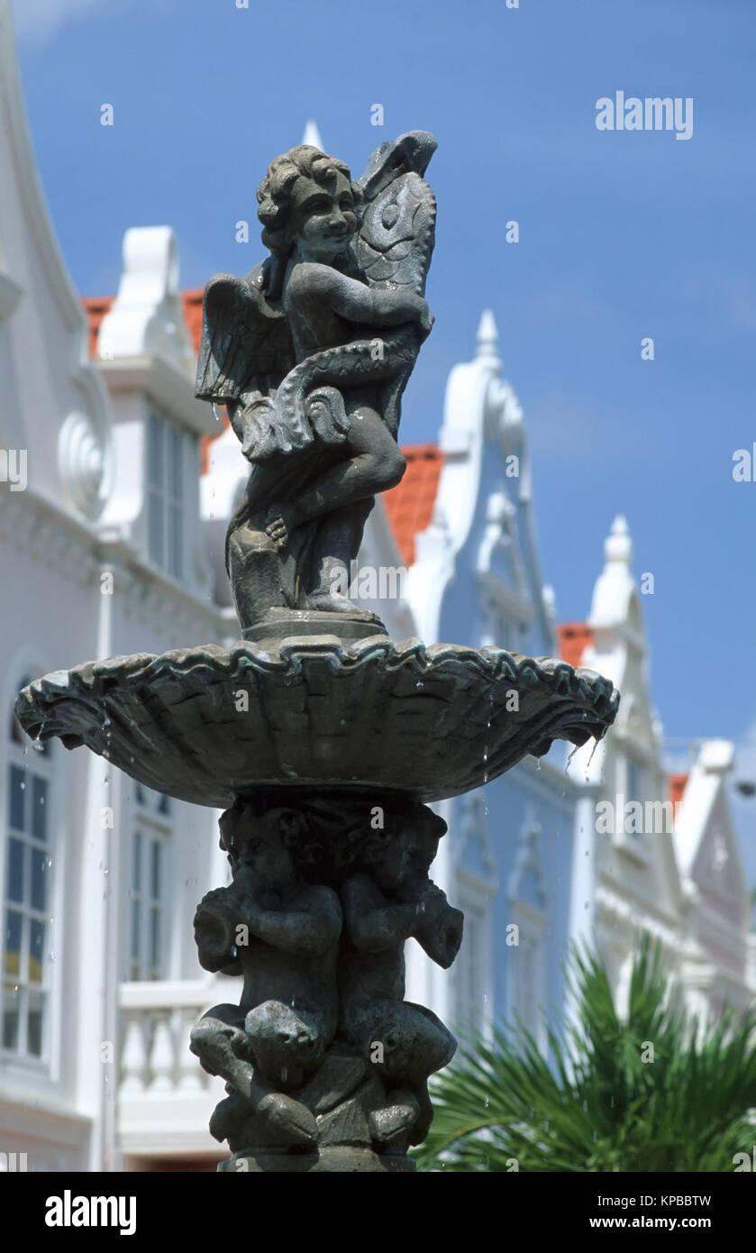 Oranjestad, fontaine sur la Plaza de Leo, Aruba, Antilles néerlandaises Banque D'Images