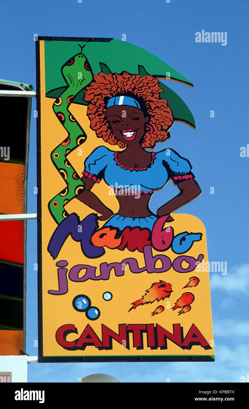 Oranjestad, restaurant sign, Aruba, Antilles néerlandaises Banque D'Images