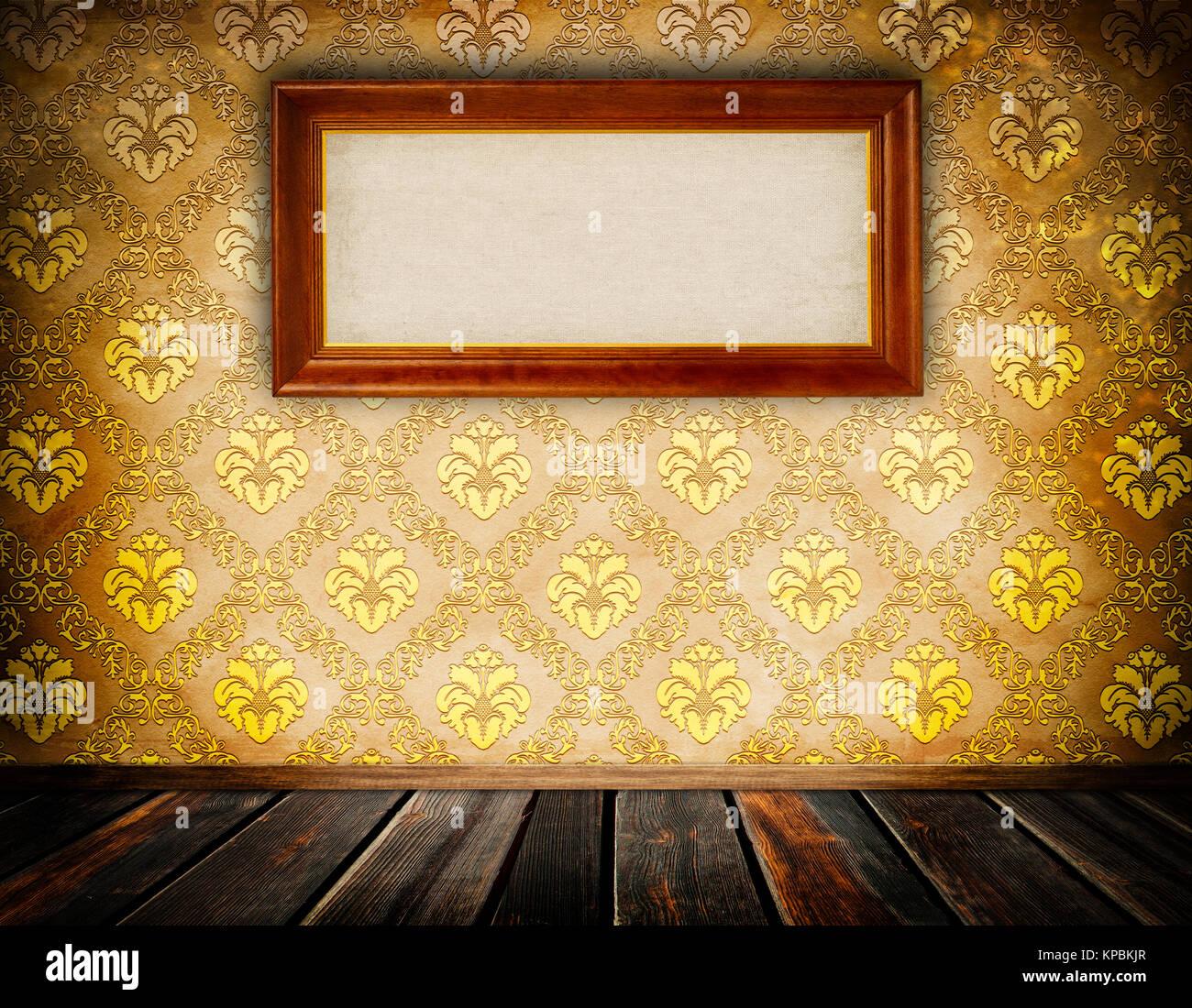 mur avec vintage papier peint fleuri et ancien cadre en bois pour la conception banque d 39 images. Black Bedroom Furniture Sets. Home Design Ideas