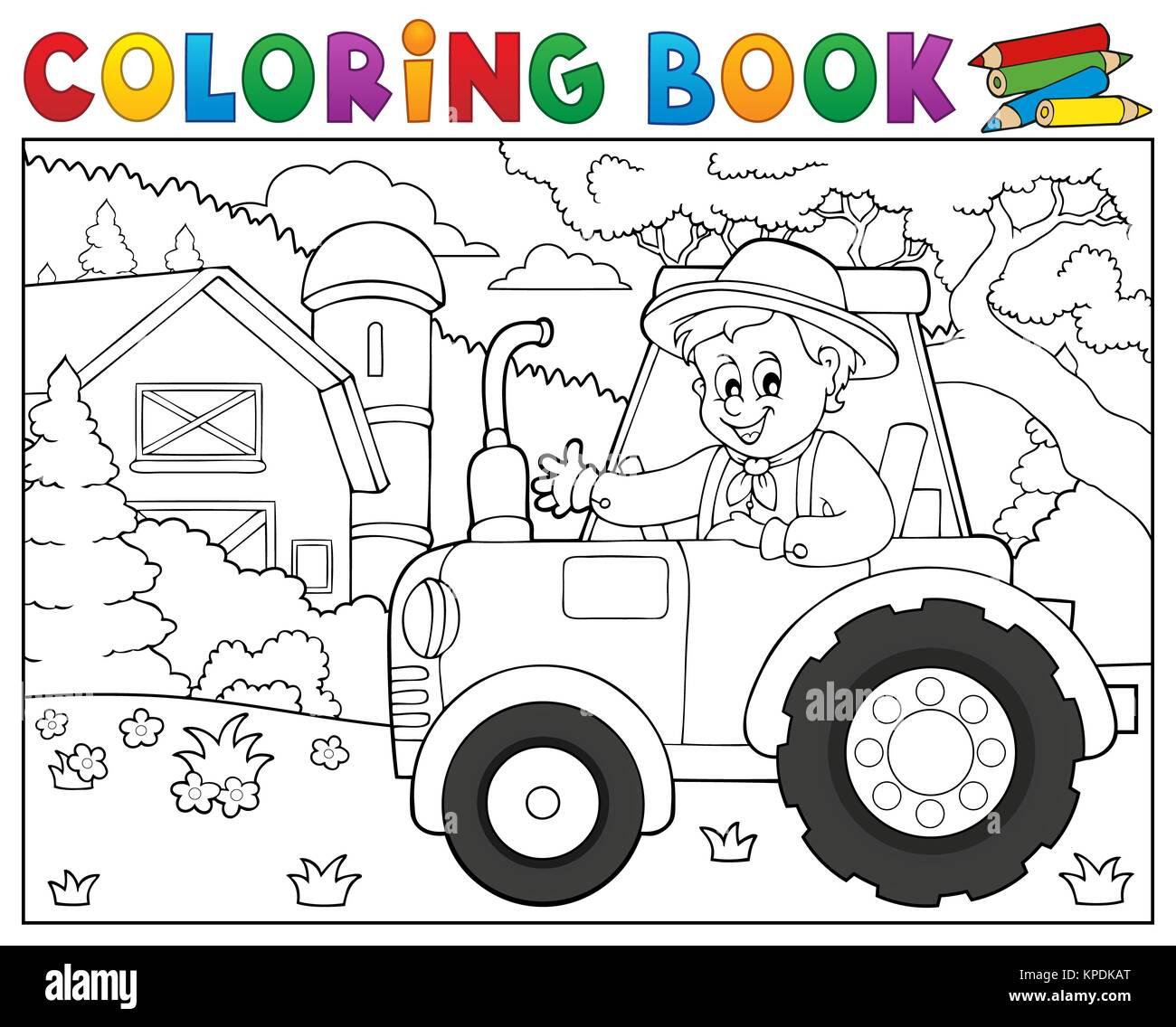 Livre De Coloriage Tracteur Agricole Pres De Theme 1 Photo Stock Alamy