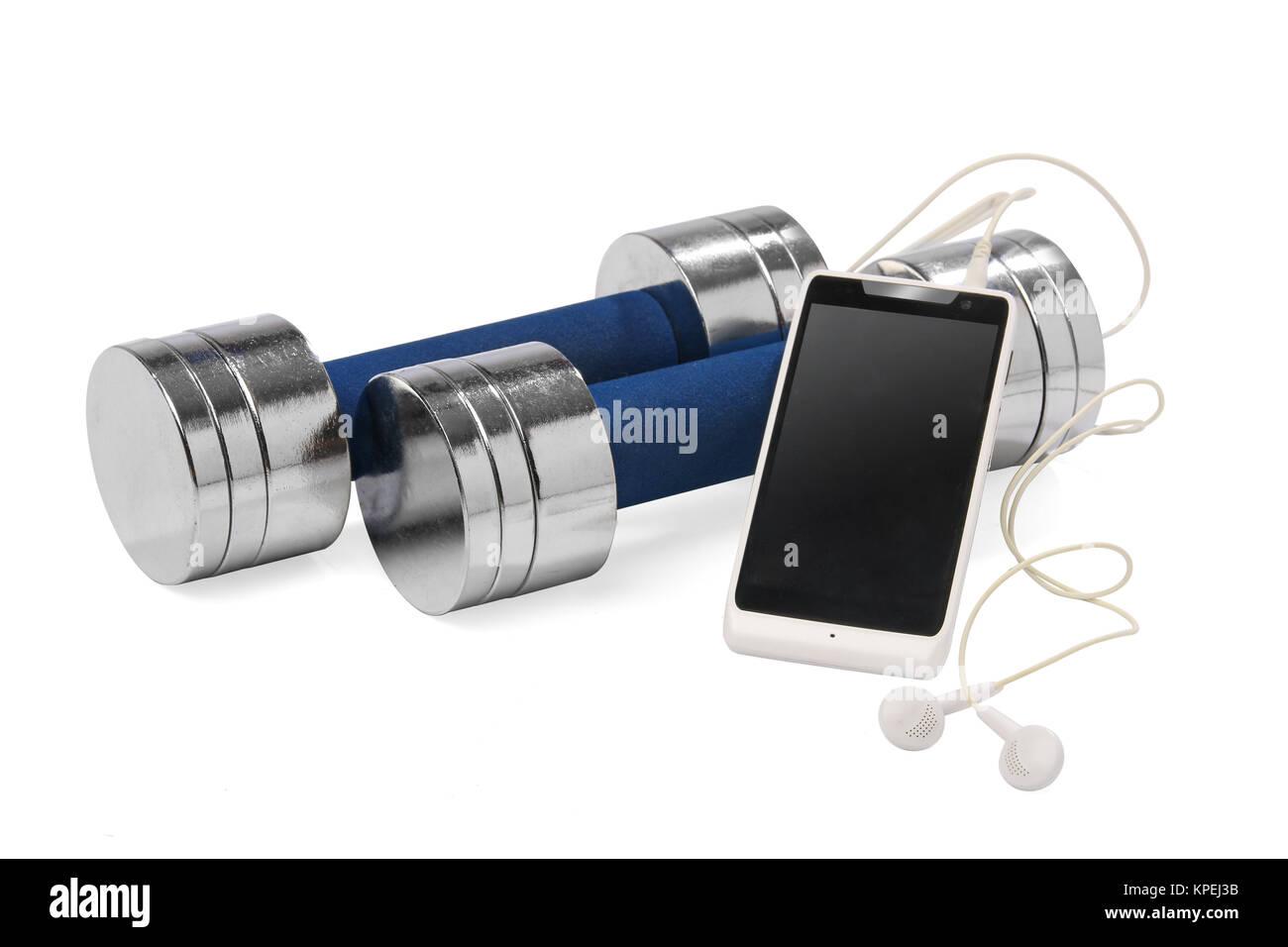 Une paire d'haltères et un smartphone. Concept de remise en forme Photo Stock