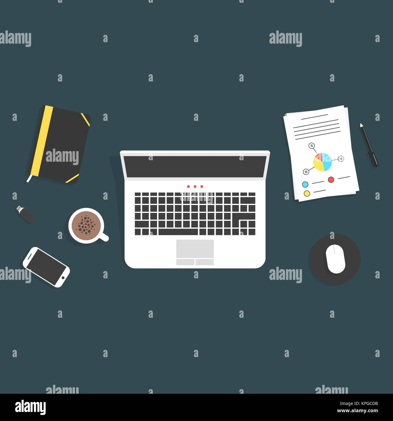 Travail de bureau avec des éléments Illustration de Vecteur