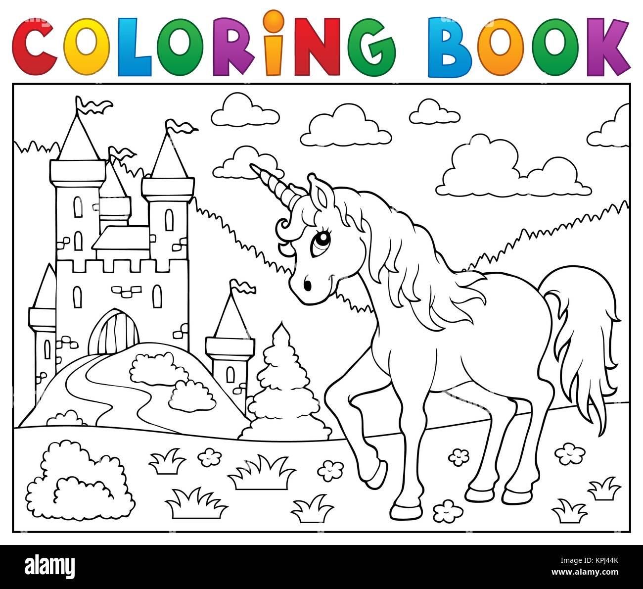 Coloriage Licorne Jeux.Jeu De Coloriage Licorne Pres De Castle Banque D Images