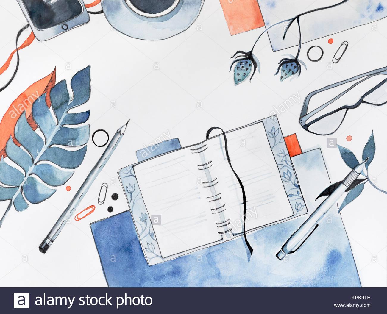 Illustration de l'espace de travail à l'aquarelle en vue de dessus avec une télévision avec l'arrière-plan des objets Banque D'Images