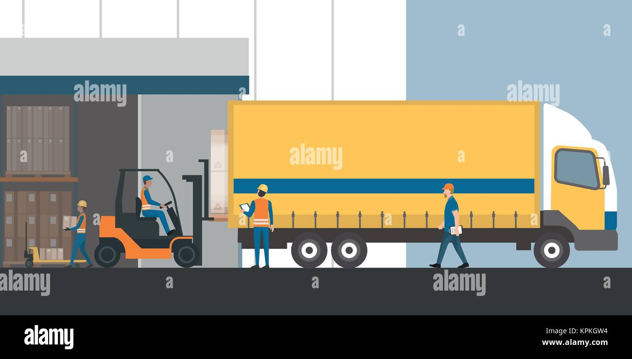 le camion avec chargement travailleurs marchandises emball es l 39 entrep t industriel avec un. Black Bedroom Furniture Sets. Home Design Ideas