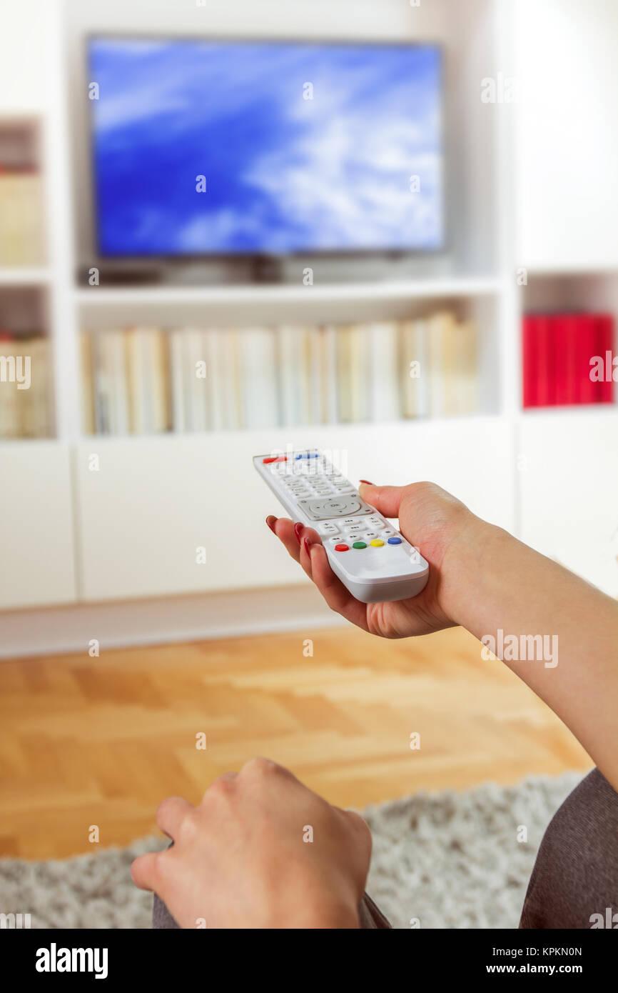 Changement de canal sur TV Photo Stock