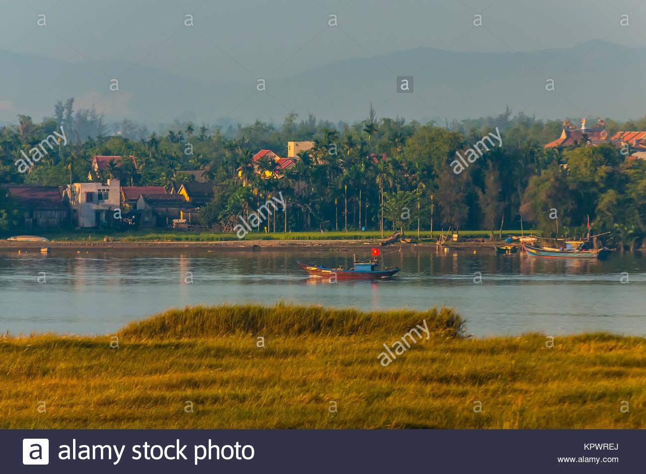 La rivière Thu Bon, Hoi An, Vietnam. Photo Stock