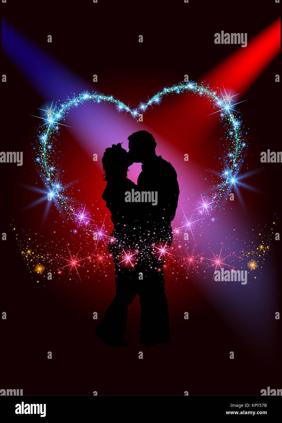 L'intérieur du cœur animé amoureux Banque D'Images