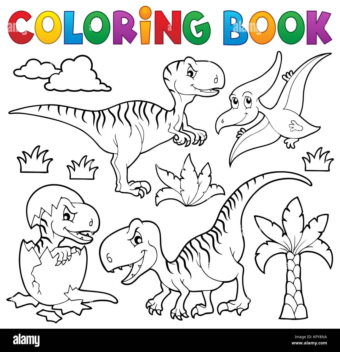 Livre Coloriage Dinosaure.Theme 8 Livre De Coloriage Dinosaure Banque D Images Photo Stock