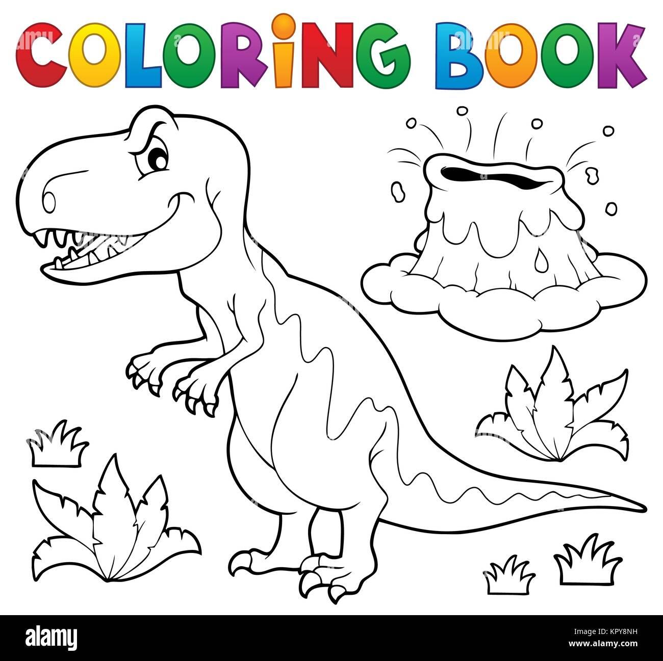 Livre Coloriage Dinosaure.Livre De Coloriage Dinosaure Sujet 1 Banque D Images Photo Stock
