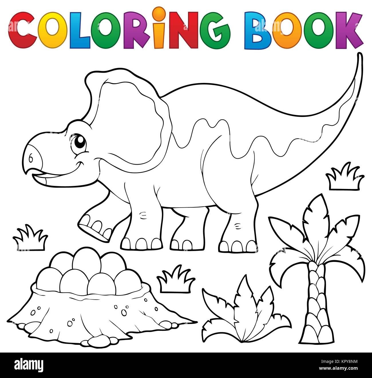 Livre Coloriage Dinosaure.Livre De Coloriage Dinosaure Sujet 3 Banque D Images Photo Stock