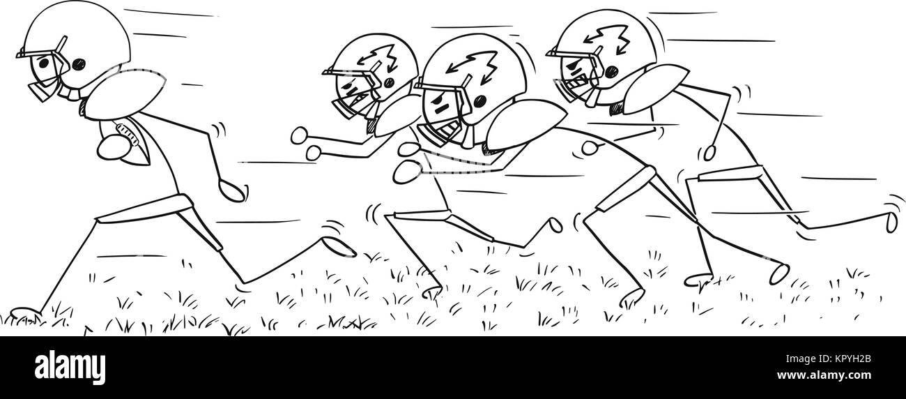 Cartoon stick man dessin illustration de joueur de football am ricain d 39 ex cution avec ball - Dessin football americain ...