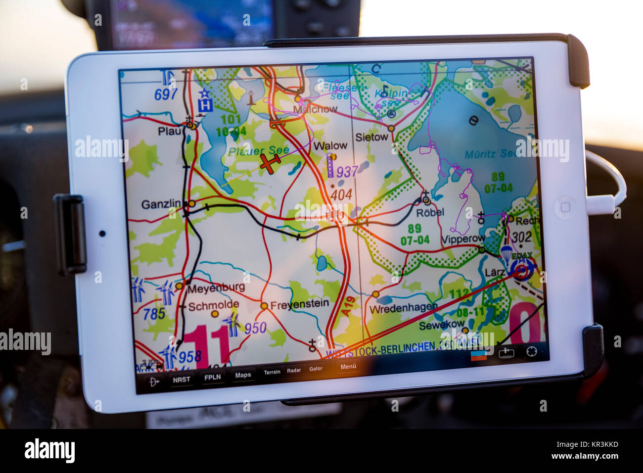 La navigation aérienne, GA, l'aviation générale, la navigation GPS sur un IPad mini avec SkyMap, Photo Stock