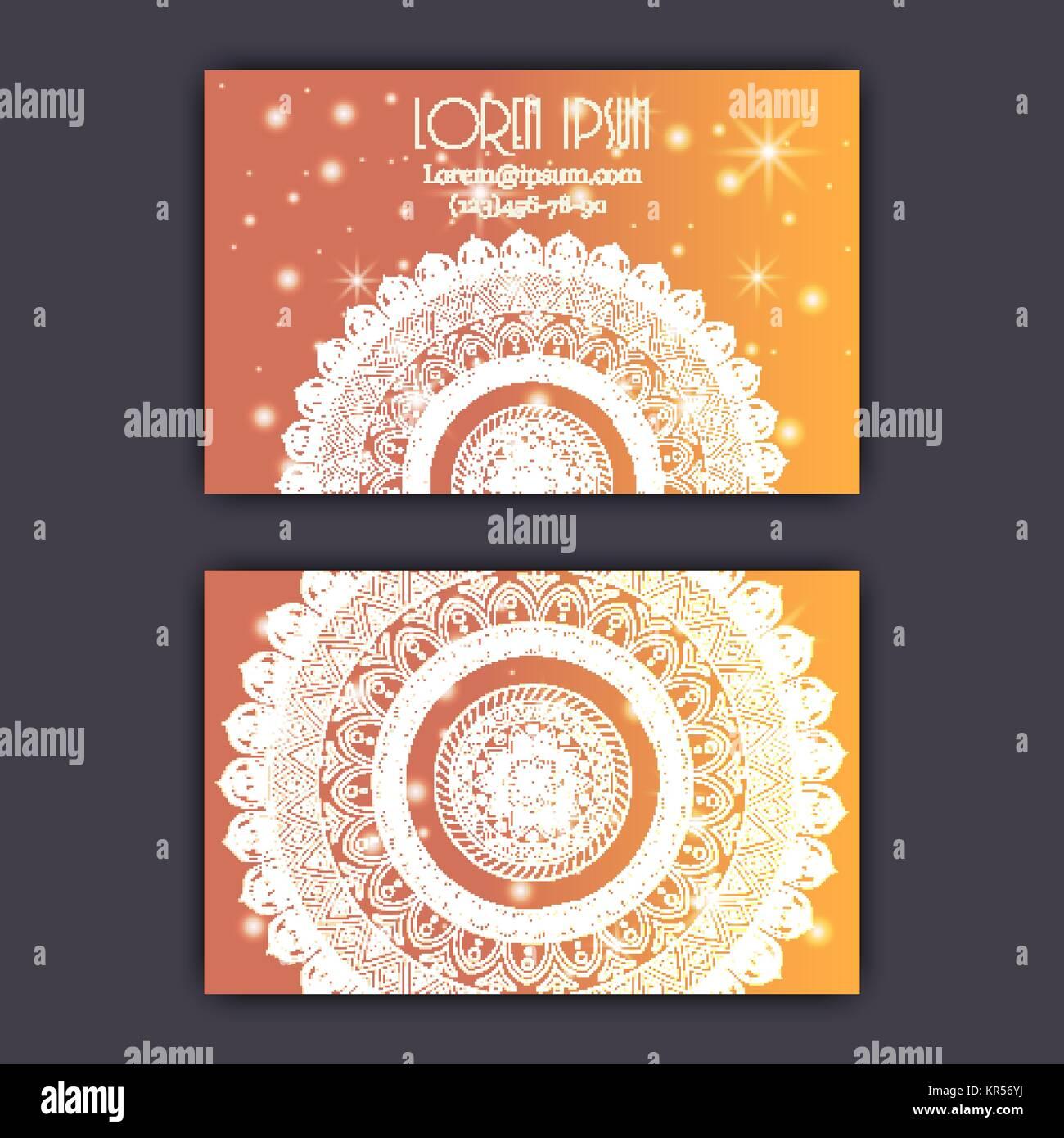 Carte De Visite Vintage Vector Set Brillant Clatant Motif Floral Mandala Et Ornements Design Luxe