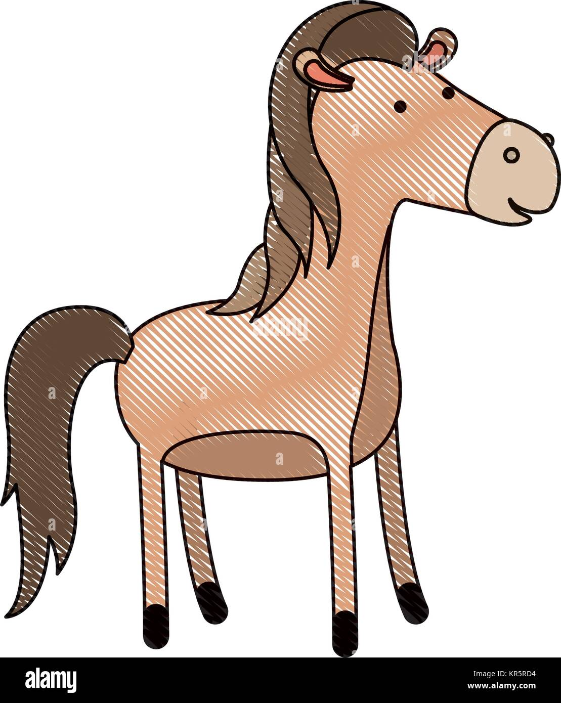 En dessin anim cheval crayon de couleur d 39 ossature avec contour noir vecteurs et illustration - Cheval dessin couleur ...