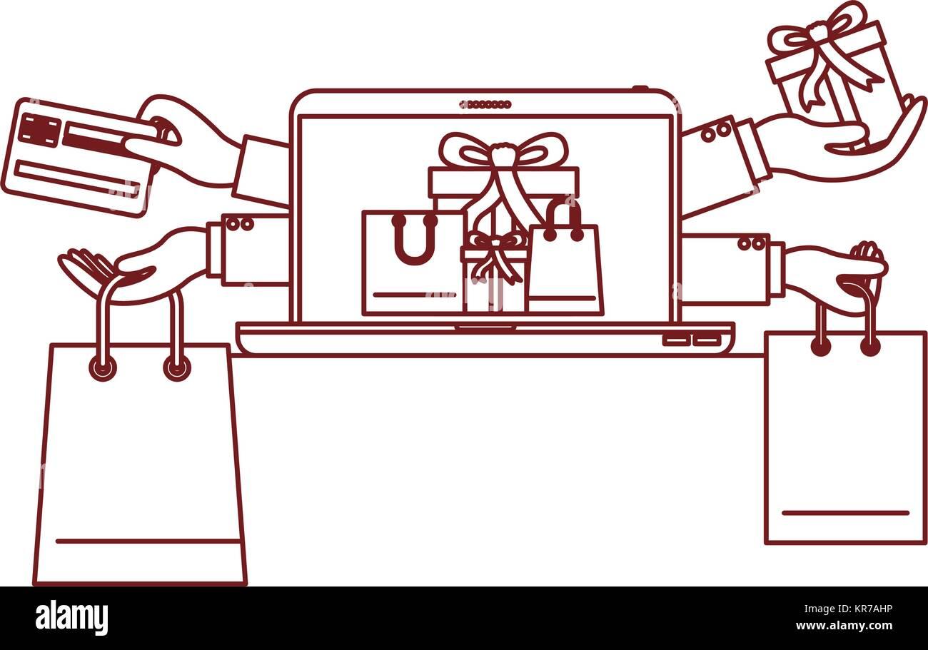 Les achats en ligne de cadeaux avec la carte de crédit à l'ordinateur portable dans le noir contour Photo Stock