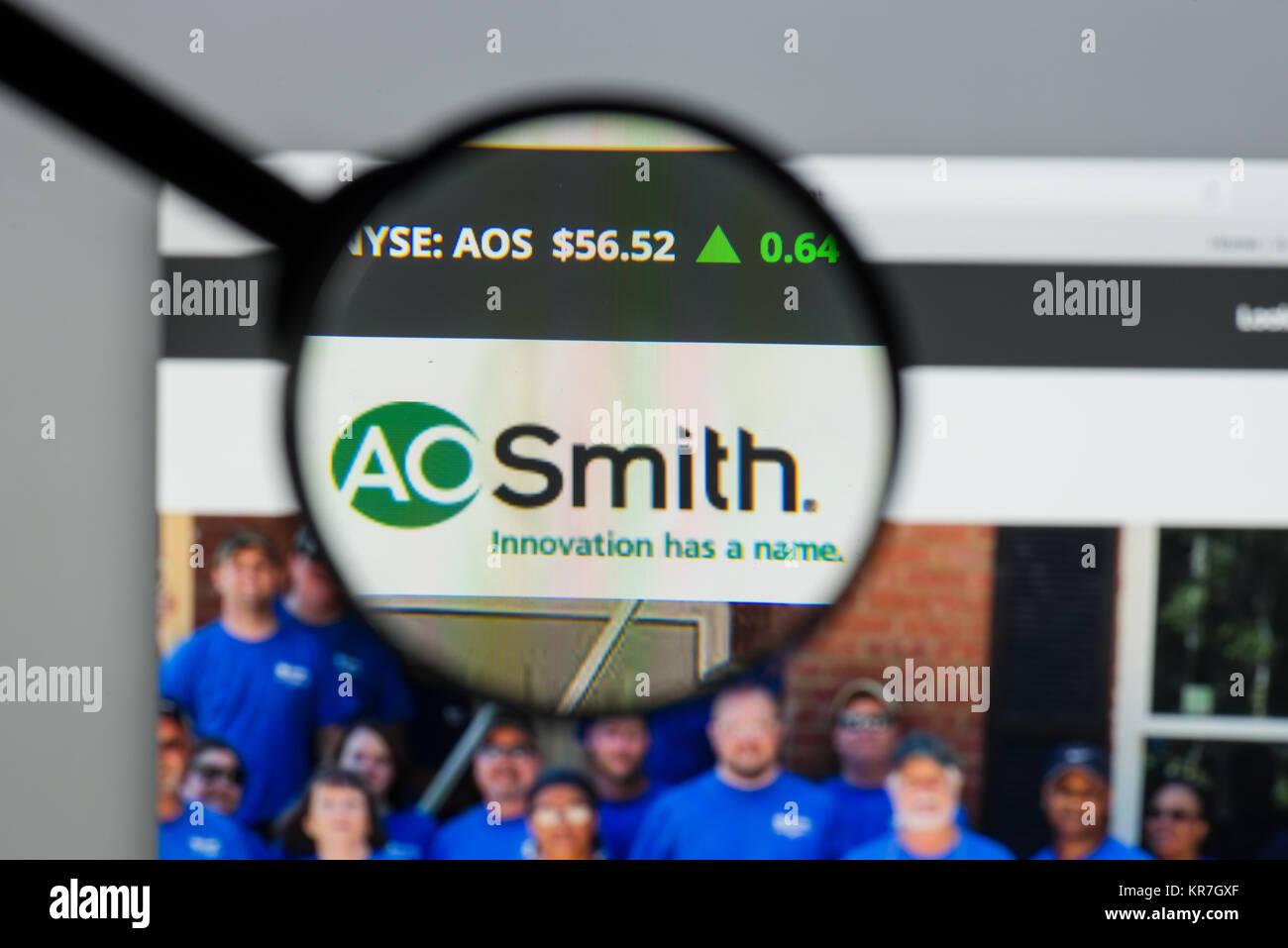 Milan, Italie - 10 août 2017: A.O.Smith accueil du site. C'est un fabricant américain de chauffe Photo Stock