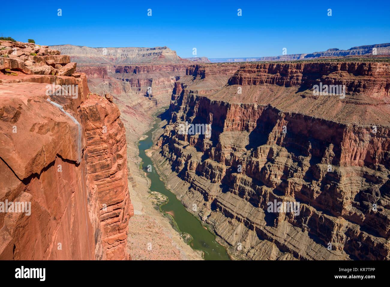 Toroweap donnent sur le Parc National du Grand Canyon, Arizona, USA. C'est 3000 pieds au-dessus de la rivière Photo Stock